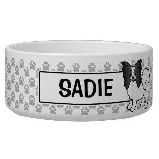 Black And White Papillon Cartoon Dog Dog Food Bowls