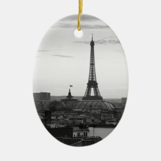 Black and White Paris Ceramic Oval Ornament
