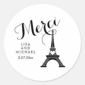Black and White Paris Eiffel Tower Wedding Merci Classic Round Sticker