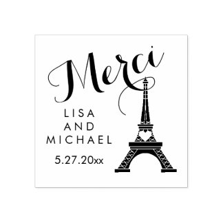 Black and White Paris Eiffel Tower Wedding Merci Rubber Stamp