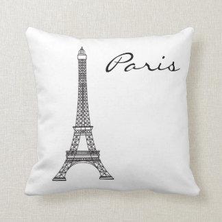 Black and White Paris Landmark Throw Pillow