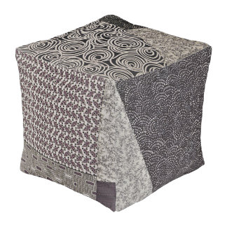 Black and White Patchwork Pouf