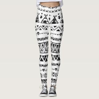 black and white pattern design leggings