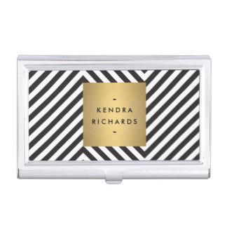 Black and White Pattern Gold Name Biz Card Holder