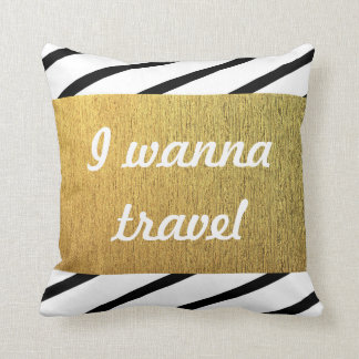 Black and white pattern Golden Travel Throw Pillow
