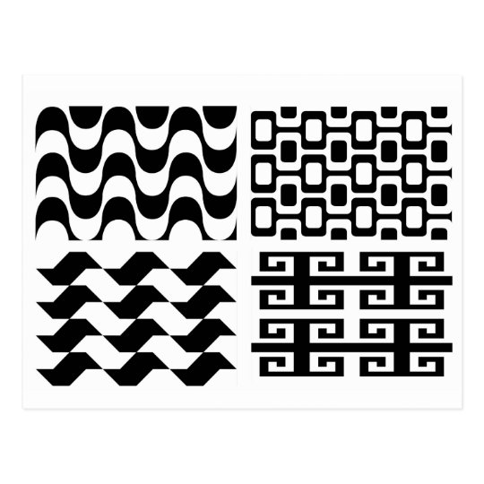 Black and white pattern postcard