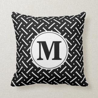 Black and White Pattern Throw with Custom Monogram Throw Pillow