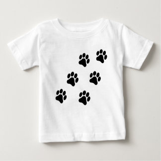 Black and White Paw Print Pattern Baby T-Shirt