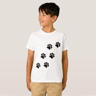 Black and White Paw Print Pattern Boy's T-Shirt