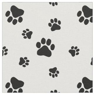 Black and White Paw Print Pattern Fabric v2