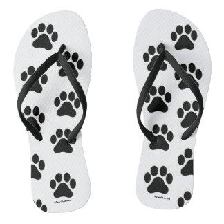 Black and White Paw Print Pattern Flip Flops