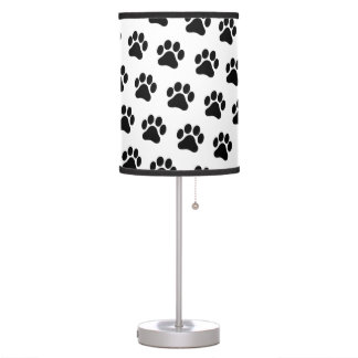 Black and White Paw Print Pattern Lamp