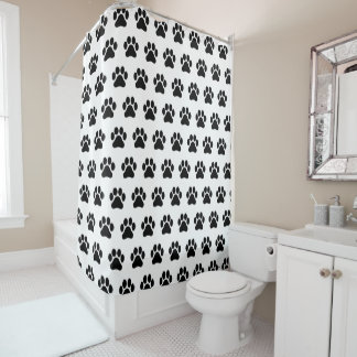Black and White Paw Print Pattern Shower Curtain