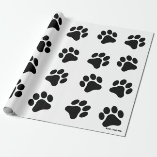 Black and White Paw Print Pattern Wrapping Paper