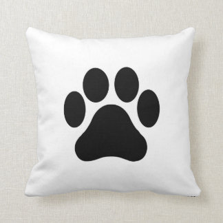 Black and White Paw Print Pillow Home Decor