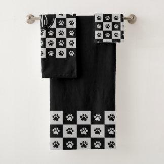 Black and white paw prints Pattern Bath Towel Set