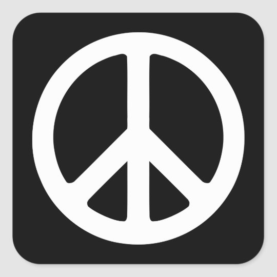 Black and White Peace Sign Square Sticker