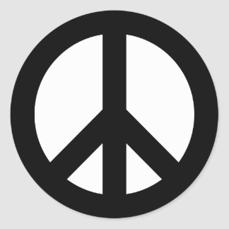 Black and White Peace Symbol Classic Round Sticker