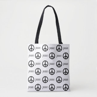 Black and White Peace Symbol Tote Bag