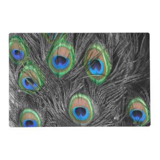 Black and White Peacock Feather Laminated Place Mat