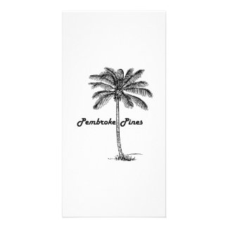 Black and White Pembroke Pines & Palm design Custom Photo Card