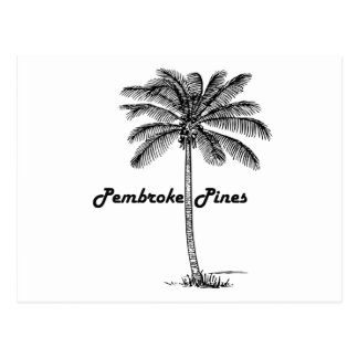 Black and White Pembroke Pines & Palm design Postcard