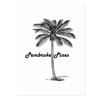 Black and White Pembroke Pines & Palm design Postcard