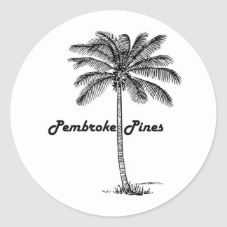 Black and White Pembroke Pines & Palm design Round Sticker