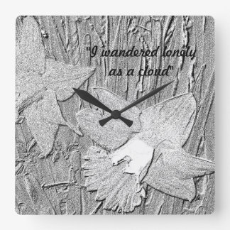 Black and White Pencil Drawing Style Daffodils Square Wall Clock