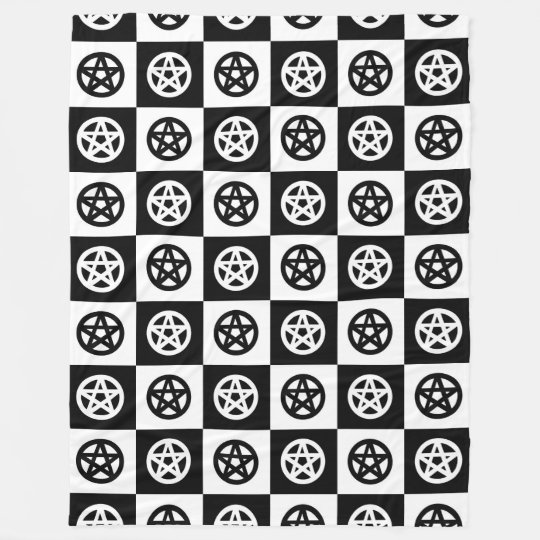 Black and White Pentacle Checkerboard Fleece Blanket