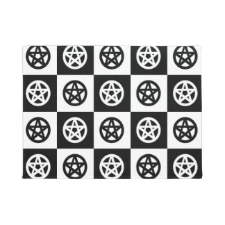 Black and White Pentacles Doormat