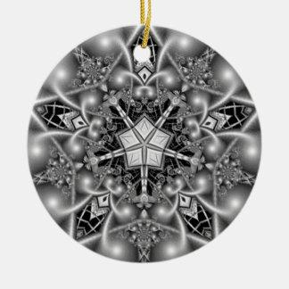 Black and White Pentagram Star Round Ceramic Ornament