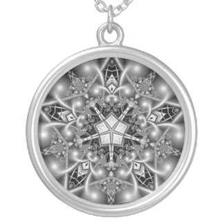 Black and White Pentagram Star Silver Plated Necklace