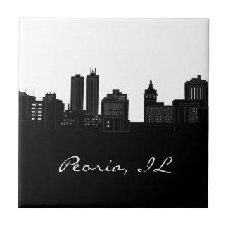 Black and White Peoria, Illinois Skyline Ceramic Tile