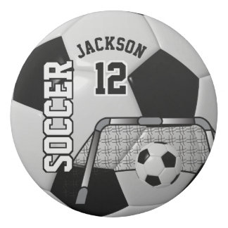 Black and White Personalize Soccer Ball Eraser