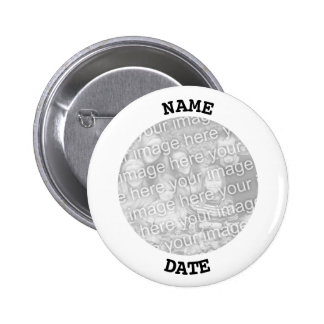 Black and White Personalized Round Photo Frame 2 Inch Round Button