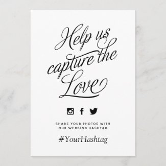 Black and White Personalized Wedding Hashtag Sign