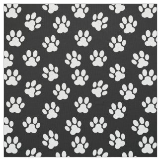 black and white pet paw print pattern fabric