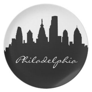 Black and White Philadelphia Skyline Dinner Plates
