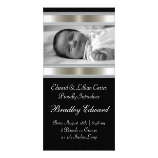 Black and White Photo Baby Birth Annoucements Picture Card