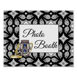 Black and White Photo Booth Wedding Sign Poster