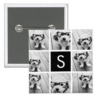Black and White Photo Collage Custom Monogram Pins
