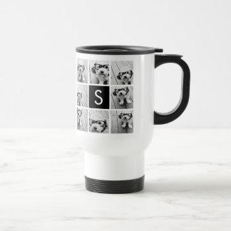 Black and White Photo Collage Custom Monogram Coffee Mug