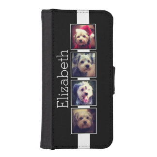 Black and White Photo Collage Squares Personalized iPhone 5 Wallet Case