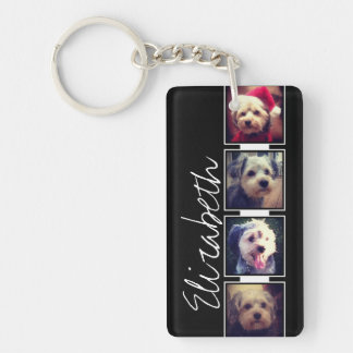 Black and White Photo Collage Squares Personalized Keychain
