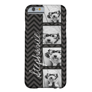 Black and White Photo Collage Squares with name Barely There iPhone 6 Case