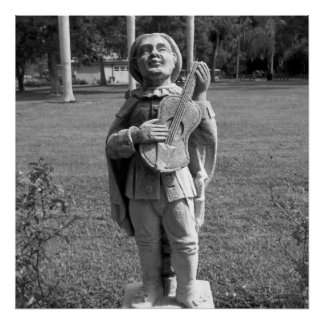 Black And White Photo Musician Statue Poster