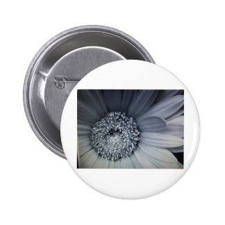 black and white photo of a flower pinback button
