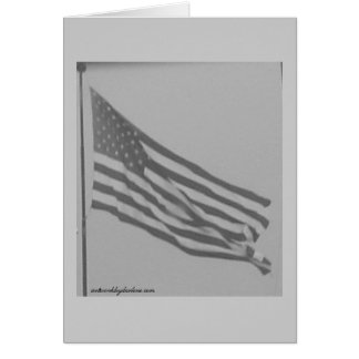 Black and white photo of American Flag Card