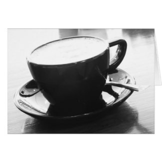 black and white photo of coffee card